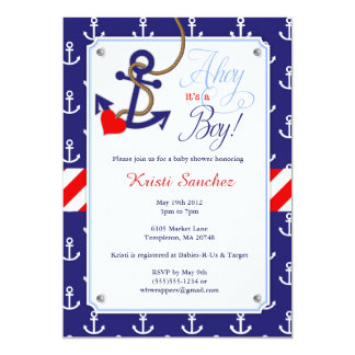 Nice Nautical Themed Baby Shower Invitation