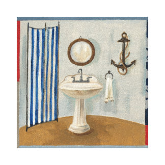 Nautical Themed Bathroom Stretched Canvas Print