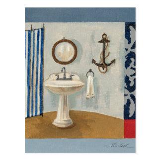 Nautical Themed Bathroom Postcard