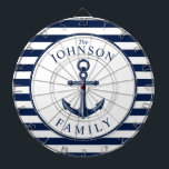 """Nautical Themed Beach House Anchor Family Dart Board<br><div class=""""desc"""">A fully customizable and fun dartboard set with a unique nautical theme. It features an anchor centered in the middle and a vibrant navy and white color scheme. All elements are unlocked and adjustable if you need to make changes.  Have fun creating and making it your own.</div>"""
