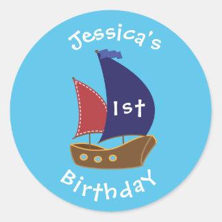 Nautical Themed Birthday Sticker- Bday Labels