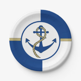 Nautical Themed Boat Anchor Paper Plate