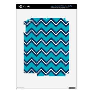 Nautical Themed Chevron Print Teal iPad 3 Skins