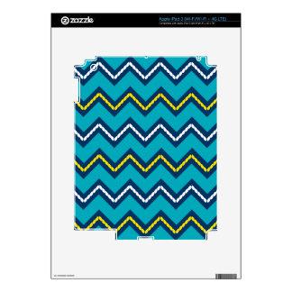 Nautical Themed Chevron Print Teal & Yellow iPad 3 Decal