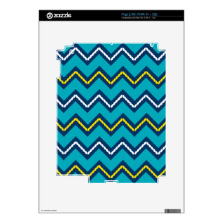Nautical Themed Chevron Print Teal & Yellow Decals For The iPad 2