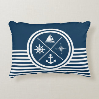 Nautical themed design accent pillow