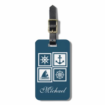Nautical themed design bag tag