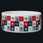 "Nautical themed design bowl<br><div class=""desc"">Nautical themed design with navy and aquatic decoration in seamless white,  red,  blue and gray squares</div>"