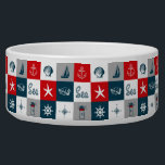 """Nautical themed design bowl<br><div class=""""desc"""">Nautical themed design with navy and aquatic decoration in seamless white,  red,  blue and gray squares</div>"""