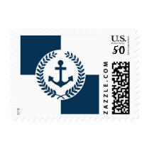 Nautical themed design postage
