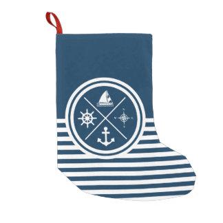 Nautical themed design small christmas stocking