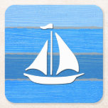 "Nautical themed design square paper coaster<br><div class=""desc"">Nautical themed design with sailing boat decoration on striped blue and gray wooden background. Please note this is not made of wood,  it is a wood graphic print.</div>"