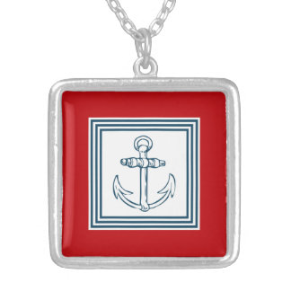 Nautical themed design square pendant necklace