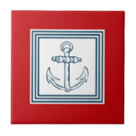 "Nautical themed design tile<br><div class=""desc"">Nautical themed design with anchor decoration in striped squares on red background</div>"