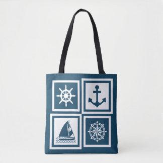 Nautical themed design tote bag
