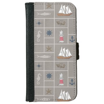 Nautical themed illustration iPhone 6/6s wallet case