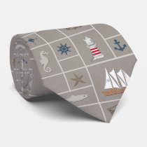 Nautical themed illustration neck tie
