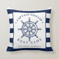 Nautical Themed Sailboat Captain Throw Pillow