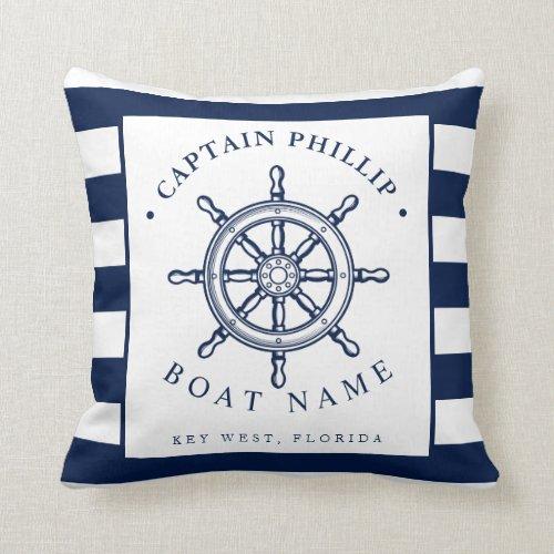 Nautical Themed Sailboat Captain Throw Pillow