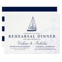 Nautical Themed Sailboat Rehearsal Dinner Invitation