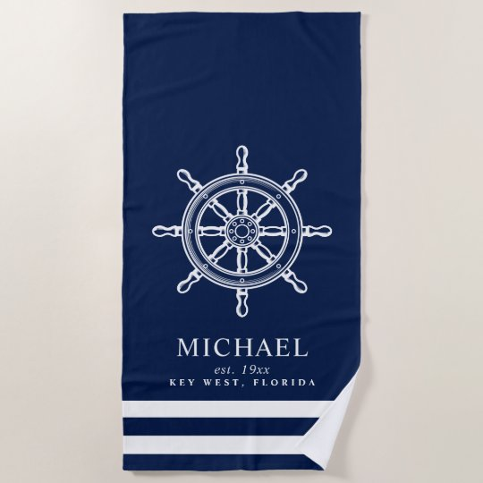 Nautical Themed Ship Wheel Beach Towel