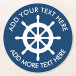 """Nautical themed ship wheel custom paper coasters<br><div class=""""desc"""">Navy blue and white nautical ship wheel paper coasters. Custom paper coasters in round or other shape. Maritime theme / beach party coasters with sailing boat helm. Trendy design for destination wedding, engagement, baby shower, bridal shower, anniversary etc. Round text template place in a circle around the logo. Personalizable throw...</div>"""