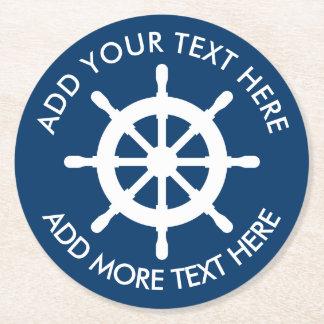 Nautical themed ship wheel custom paper coasters