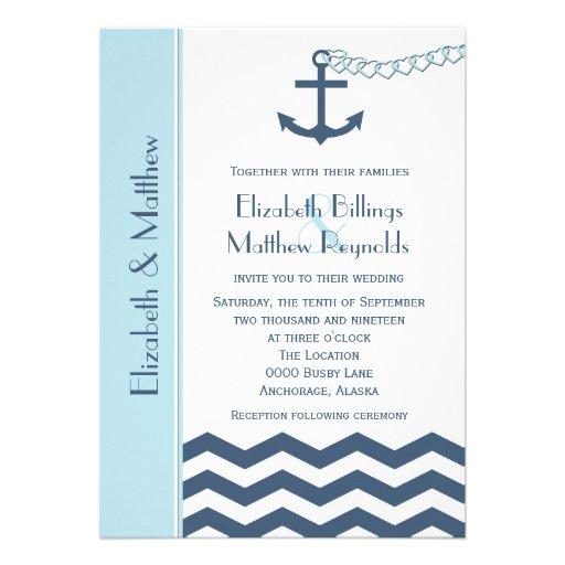 "Nautical Themed Wedding Invitations Blue 5"" X 7"