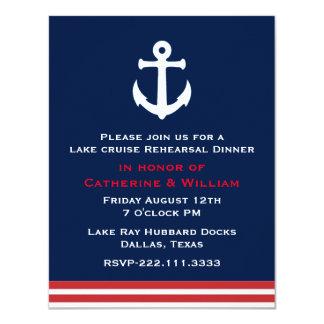 Nautical Themed Wedding Rehearsal Dinner 4.25x5.5 Paper Invitation Card