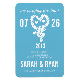 Nautical Tie the Knot Blue Save the Date Magnets Rectangular Magnet