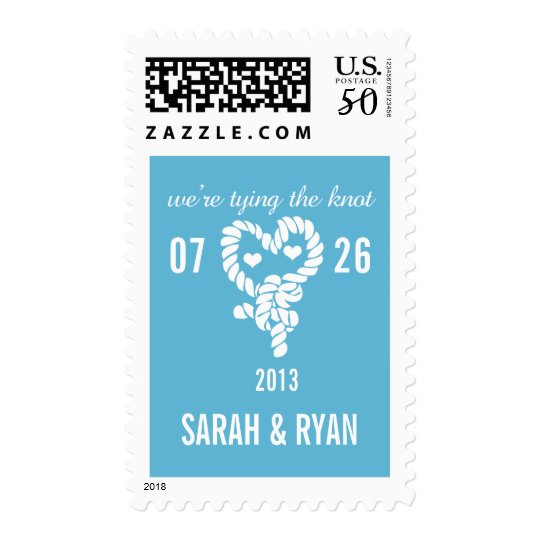 Nautical Tie the Knot Blue Save the Date Postage