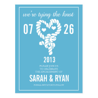 Nautical Tie the Knot Blue Save the Date Postcards