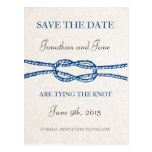 Nautical Tie the Knot Wedding Save the Date (Gray) Postcard