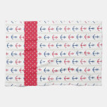 Nautical Towels Anchors Red White Blue