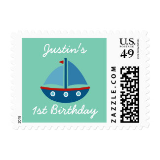 Nautical toy sail boat 1st birthday stamps