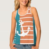 Nautical Turquoise Orange Stripe with Anchor Tank Top