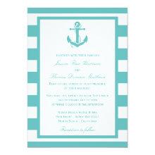 Nautical Turquoise Stripe Anchor Wedding 5x7 Paper Invitation Card