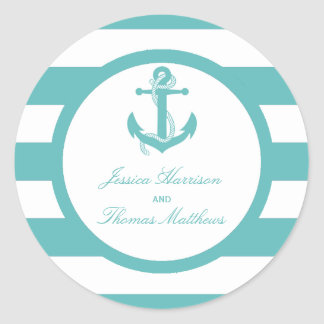 Nautical Turquoise Stripe Anchor Wedding Classic Round Sticker