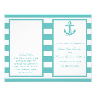 Nautical Turquoise Stripe Anchor Wedding Program