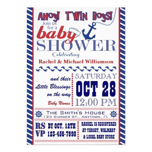nautical twin baby boy shower invitation 5 x 7