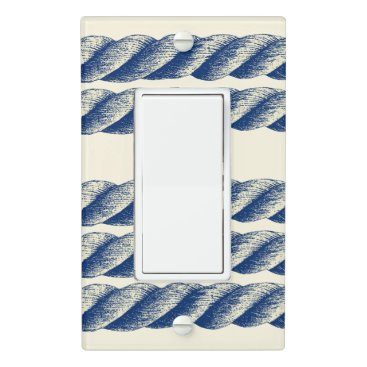 Beach Themed Nautical Twisted Sisal Rope Stripes Pattern Light Switch Cover