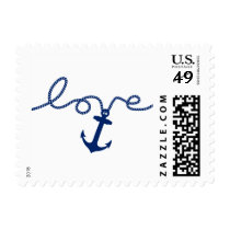 Nautical Tying the Knot Anchor Wedding Postage