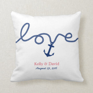 Nautical Tying the Knot Anchor Wedding Throw Pillow