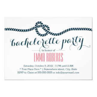 Nautical Tying the Knot Bachelorette Party Invitation
