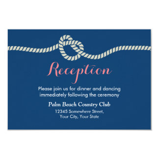 Nautical Tying the Knot Wedding Reception 3.5x5 Paper Invitation Card