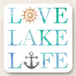 "Nautical Typography Love Lake Life Anchor Wheel Coaster<br><div class=""desc"">Love Lake Life Watercolor Typography Nautical Coaster. Blue and green watercolor brush stroke style typography with text reading Love Lake Life. Brown captains ships wheel and gray anchor designs on white background. Nautical themed coasters great for a lake house or boat lover.</div>"