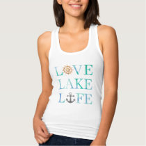 Nautical Typography Love Lake Life Watercolor Tank Top