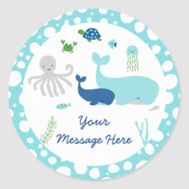 Nautical Under The Sea Baby Shower Classic Round Sticker