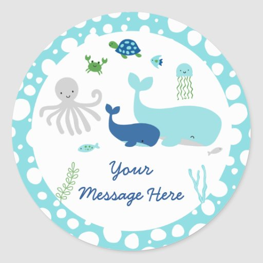 Nautical Under The Sea Baby Shower Classic Round Sticker