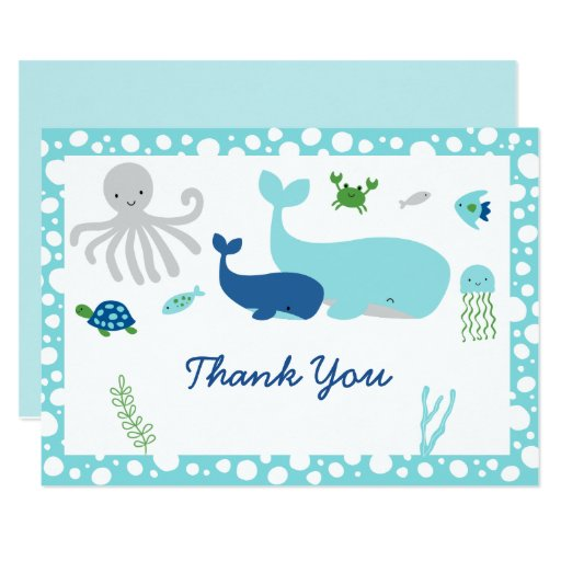 Nautical Under The Sea Baby Shower Thank You Card